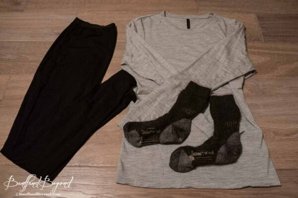 base layer shirt and pants and sock made from merino wool