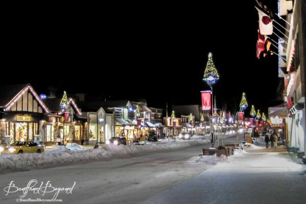 christmas lights and decorations on banff avenue