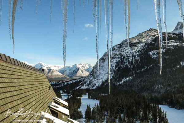 giant icicles hanging from roof of banff springs hotel