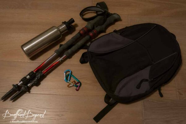 hiking-walking-poles-daypack-carabiner-clips-refillable-water-bottle