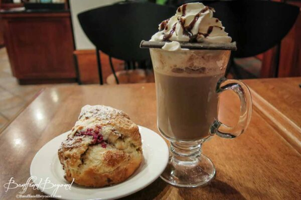 hot cocoa and scone treat at chateau lake louise hotel