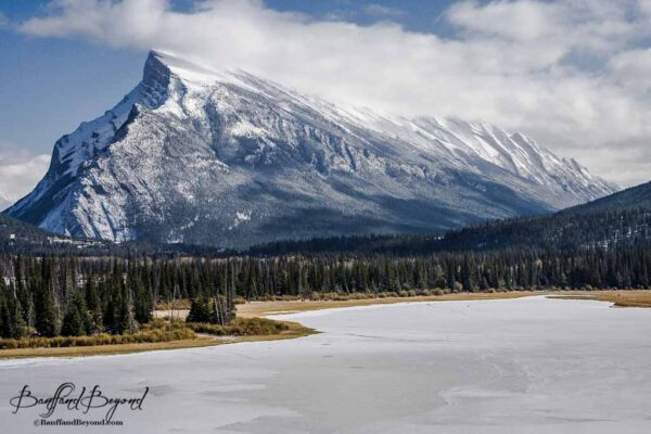 mount rundle and frozen vermillion lakes