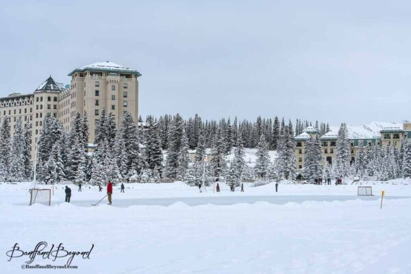 outdoor hockey rink on frozen lake louise