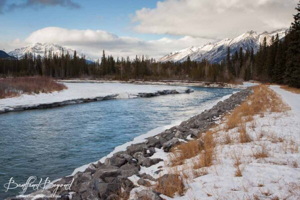 scenic views along bow river trail walk in canmore
