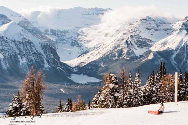 lake-louise-ski-resort-spring-time-sunny-warm-weather-lots-of-powder-snow