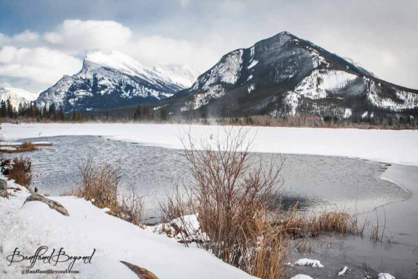 vermillion lakes and mount rundle in winter