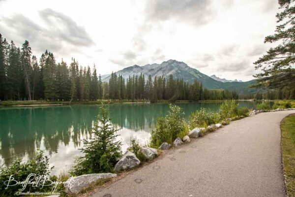 bow river and walking in banff town