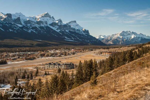 view overlooking mountains and town of canmore alberta