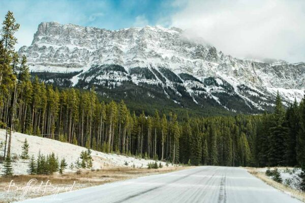 view of castle mountain along the bow valley parkway