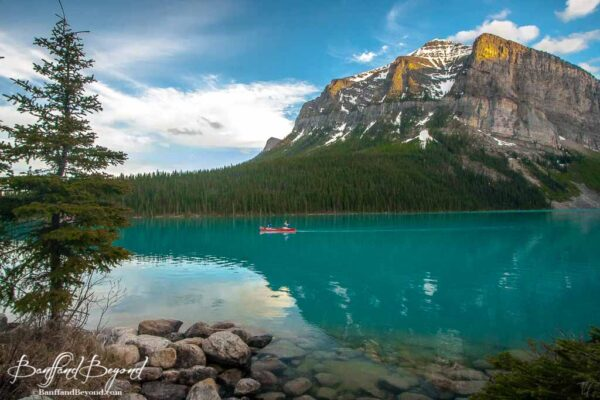 canoe on lake louise banff national park