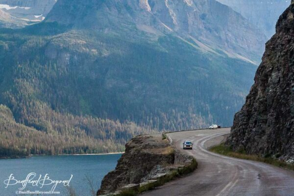 going to the sun road winding curves along the cliffside