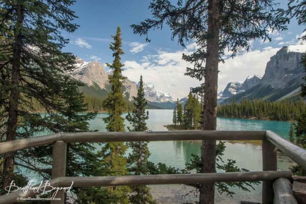 viewpoint looking at Spirit Island on Maligne Lake in Jasper