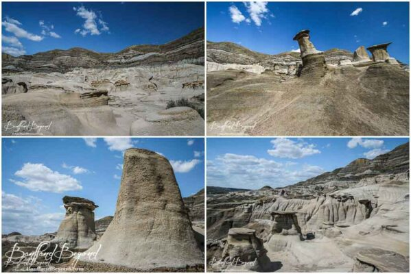 unique eroded hoodoo pillars in drumheller
